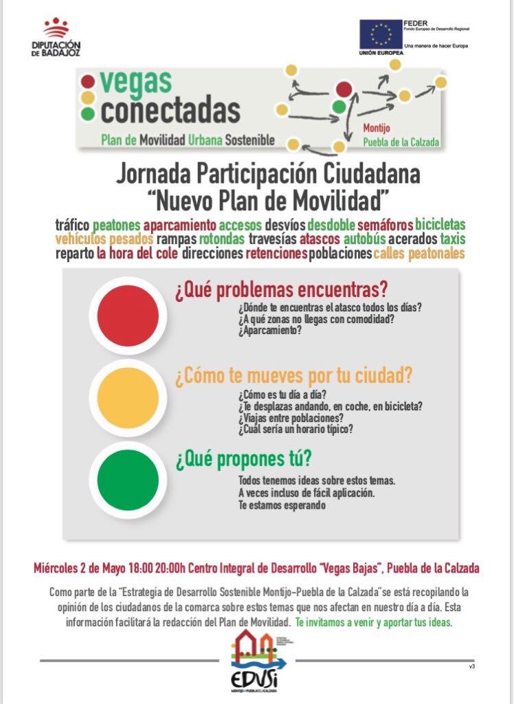 PARTICIPA EN EL NUEVO PLAN DE MOVILIDAD DE LA ESTRATEGIA DE DESARROLLO SOSTENIBLE MONTIJO-PUEBLA, TUS IDEAS CUENTAN