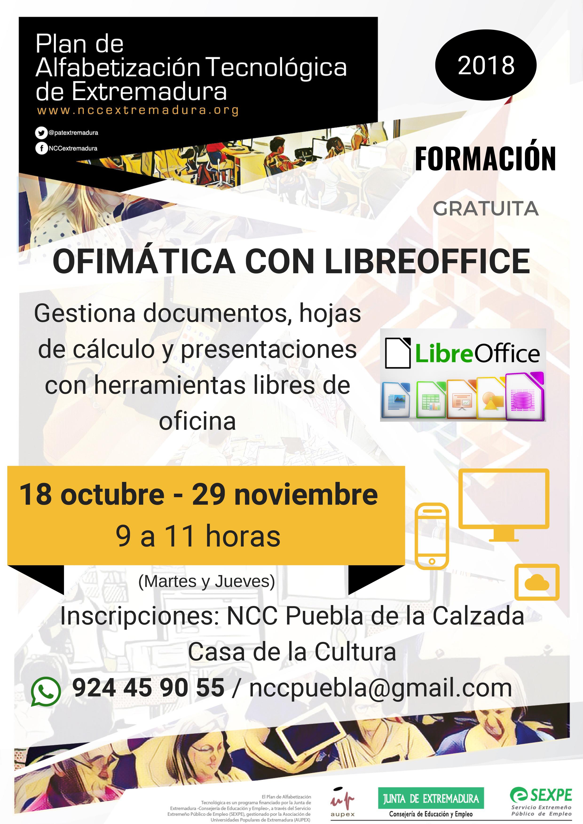 CURSOS DE OFIMÁTICA CON LIBREOFFICE EN EL NCC