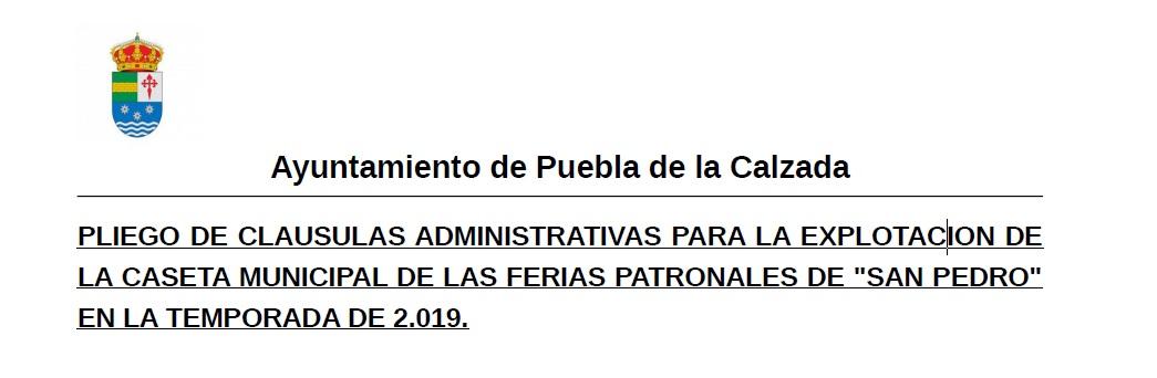 ABIERTO EL PLAZO PARA SOLICITAR LA EXPLOTACIÓN DEL BAR DE LA CASETA MUNICIPAL DURANTE LAS FERIAS PATRONALES
