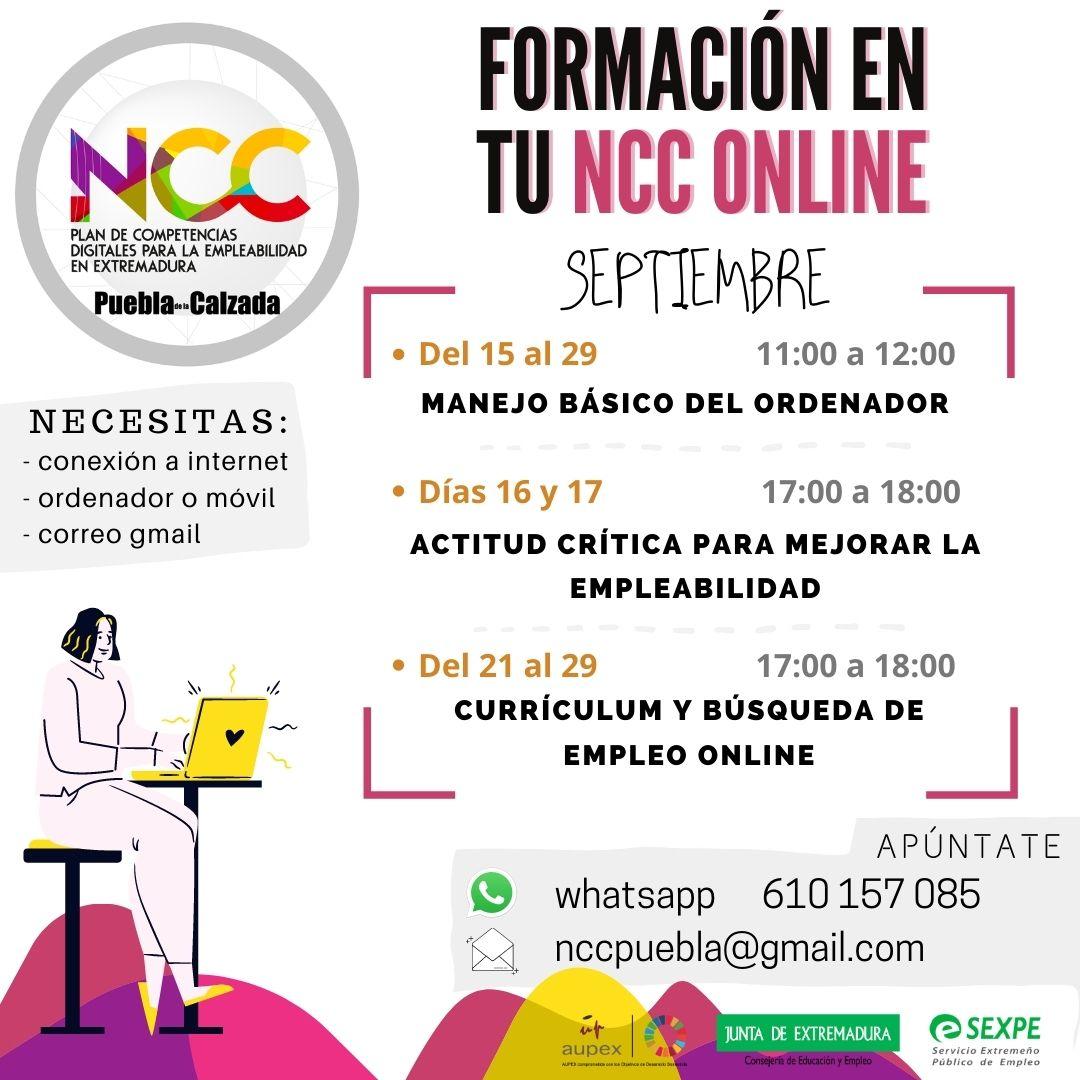 CURSOS ONLINE DEL NCC PARA LA SEGUNDA QUINCENA DE SEPTIEMBRE